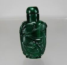 Antique Carved Malachite Snuff Bottle