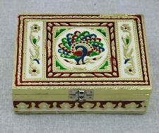 JEWELLERY GIFT BOXES Fair trade Indian Peacock Gold Velvet Trinket Box Handmade