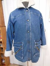 Vtg  Dani Colby Womans SM  Denim Winter Jacket Lined Faux Sheepskin Collar Cuffs