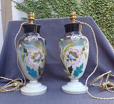 2 vases : pied de lampe en opaline décor de fleur émaillée époque 19eme