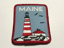 Vintage State Maine Patch Lighthouse Red Blue Travel Souvenir Collectible  A
