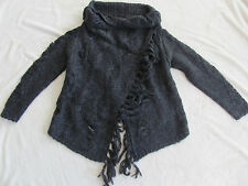 Silver Jeans Wrap Front Cardigan Sweater Fringe-Charcoal/Gray-Size XS -NWT $99