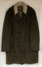 Vtg Sears Oakbrook 40 Tall Brown Corduroy Sweater Collar Overcoat Coat Fleece
