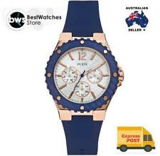 GUESS Silicone/Rubber Band Round Wristwatches