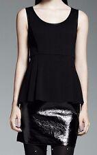 Catherine Malandrino Dress Black Faux Leather Peplum 6 Women Sleeveless NEW