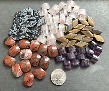 Semi Precious Gemstone Beads W/ 2 Holes, Rose Quartz, Amethyst, Jasper +