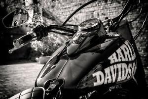 Leinwandbild Harley Davidson Foto Druck Schwarz Weiss Dekoration Wandbild 16isa