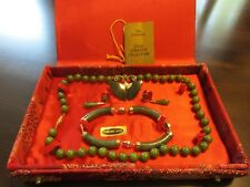 Vintage Chinese Green Jade Necklace Bracelet Earring Brooch SET w/Original Box