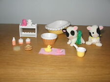 Sylvanian Families Buttercup cow twins with baby bath time accessories