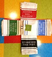 Kate Spade Diner Stripe Set of Two Kitchen Towels, Choose Color and Phrase, NEW