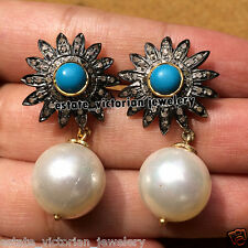Victorian Estate 1.77Cts Rose Cut Diamond Turquoise Pearl Silver Jewelry Earring
