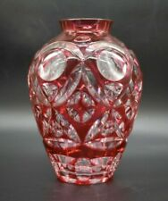 """Val St Lambert Cased Cranberry Pink Cut To Clear 9"""" Bulbous Vase"""