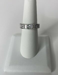 14K Solid White Gold Ring Eternity CZ Princess Baguette Band Size 7 (2.8g)