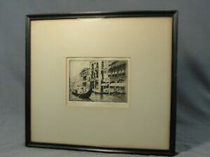 "Antique Authentic Etching American Listed James B Luft ""Venice"" Framed 1925"