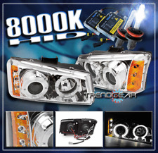 2003-2006 CHEVY SILVERADO 1500 2500 3500 HALO LED PROJECTOR HEADLIGHTS+8000K HID