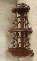 """Vintage Corner hanging Wall Shelf wooden 22"""" carved display art noveau antique"""