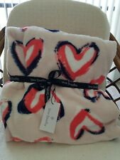 "Vera Bradley Throw Blanket 80"" x 50"" Hearts Pink NWT"