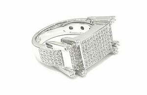 925 Sterling Silver Sparkly IceJewlz Bling LabDiamond FourTower Men's Pinky Ring