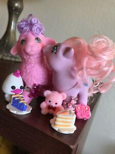 Vtg G1 My Little Pony PRETTY PALS BABY FLEECY, BABY WOOLLY - Lamb, Yarn, Nmint!!