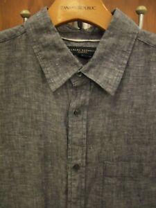 BANANA REPUBLIC Men's 100% DELAVE LINEN Slim Fit Short Sleeve Shirt NAVY, MEDIUM