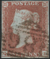 1841 SG8 1d RED BROWN PLATE 106 IRISH 186 BELFAST FINE USED 4 MARGINS (QL)