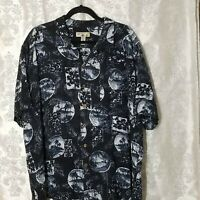 Caribbean Joe XXL 2XL Mens Tropical Hawaiian Short Sleeve Shirt Navy Blue White