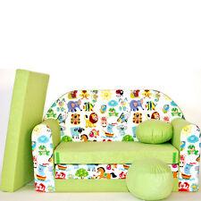 Z5 Kindersofa 3 in 1 Baby Sofa Minicouch Set Sitzkissen Matratze (grün Tiere)