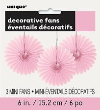 3 Pretty Pale Pink paper fans hanging decoration Easter Party Wedding Decoration