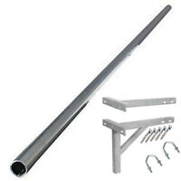 "12' ft foot 2"" alloy mast aerial TV mounting pole and 18"" T&K wall bracket kit"