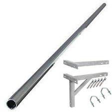 "12' ft foot 2"" STEEL mast aerial TV mounting pole and 18"" T&K wall bracket kit"