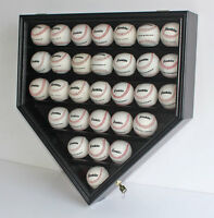 30 Baseball display Case Holder Cabinet Wall Shadow Box UV Protection, B30H-BL