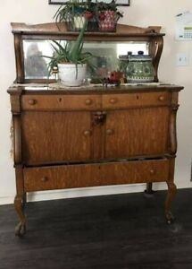 Antique Side Board Buffet Tigerwood With Mirror