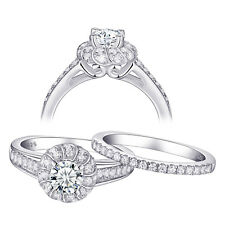 White Cz 925 Sterling Silver Size 10 Wedding Engagement Ring Set For Women Round