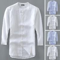 Men's Vintage Autumn Shirts 100% Cotton Collarless Crew Neck Linen Tops Tee New