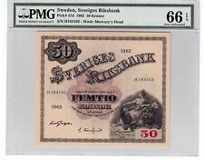 Sweden 50 Kronor Banknote 1962 Pick# 47d PMG GEM UNC 66 EPQ