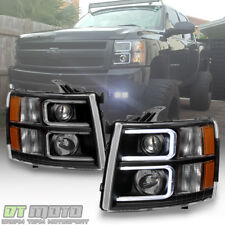 Black 2007-2013 Chevy Silverado OPTIC LED Projector Headlights Left+Right 07-13