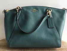 NWT Coach Dark Turquoise Pebble Leather Small Kelsey Satchel Crossbody