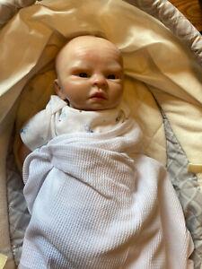 """Rare Reborn Cloth Body Newborn Baby Vintage Doll Cute Realistic Boy 17"""""""