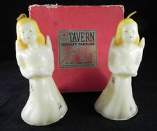 Vintage Pair TAVERN Novelty Christmas CANDLES Large Angles 30's/40's Orig. Box