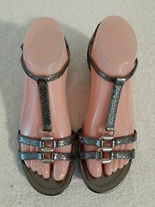Enzo Angiolini 'Nine' Silver Leather Snake Print T-strap Sandal Wedge Heels 6.5