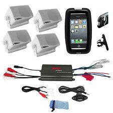 Pyle Bike Outdoor Offroad 800W 4Ch iPod Input Amplifier, Box Speakers,Phone Case