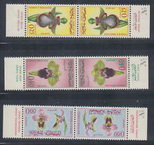 Morocco 1965 Flowers Sc 129-131 tete beche pairs Mint Never Hinged