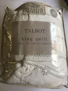 Thatch Home King Quilt and 2 Standard Shams White Ivory Stitched Country