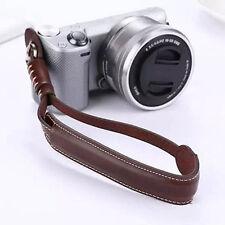 Brown Fotocamera Polso Cinghia da Polso PU Pelle Cordino per DSLR venditore del Regno Unito