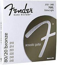 Fender 073/0070 402 80/20 Bronze Acoustic Strings, Ball End, 70XL - Gauge .010 -