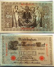 ALLEMAGNE Deuxième Reich billet 1000 Mark Berlin Pick44b 1910 tampon rouge