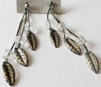 Longues boucles d'oreilles percées pendantes couleur argent feuilles 130