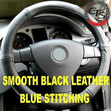 CAR STEERING WHEEL COVER SIZE 37-39cm BLACK LEATHER BLUE STITCHING