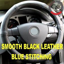 VW GOLF MK5 MK6 MK7 PLUS BLACK ITALIAN LEATHER STEERING WHEEL COVER BLUE STITCH