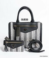 "GUESS ""HANNA"" BLACK-WHITE SATCHEL HANDBAG WITH MATCHING WALLET"